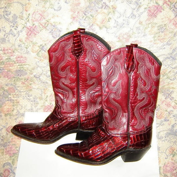 Womens Vintage Red Cowboy Cowgirl Western Leather