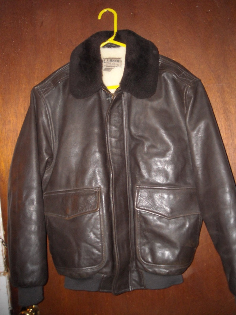 2bd0d99e9 Vintage LL Bean Flying Tiger Brown Leather Bomber Jacket Mens M Medium Wool  Lining Insulated Made in USA