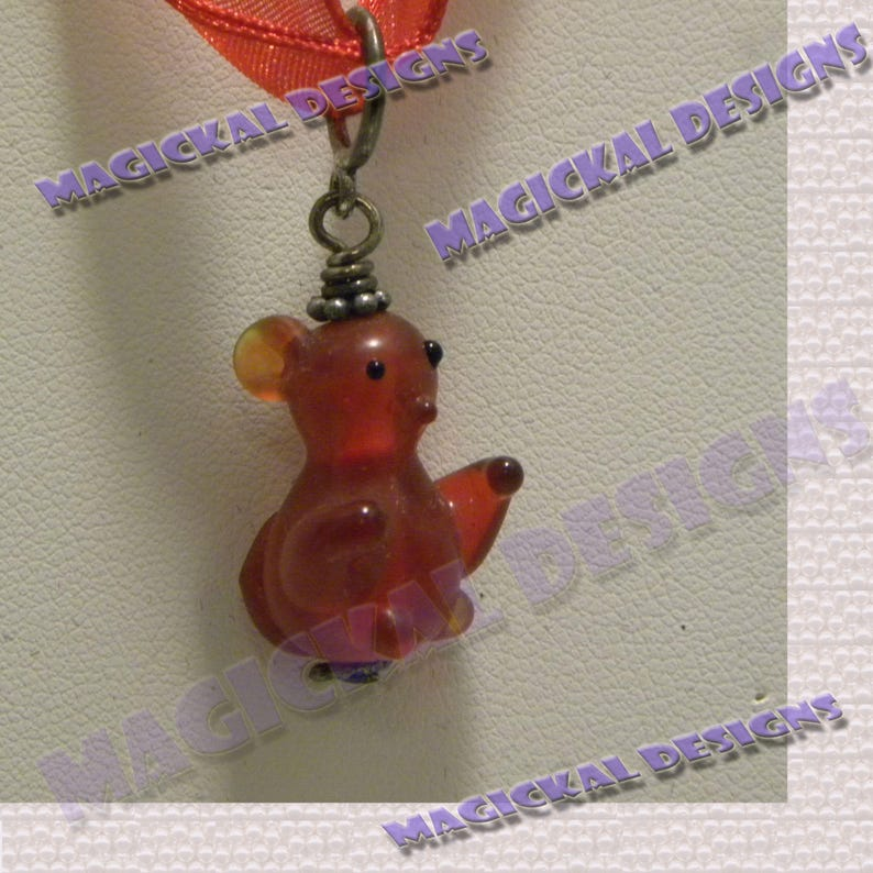 Red Animal Pendant on multi strand Ribbon necklace teddy image 0