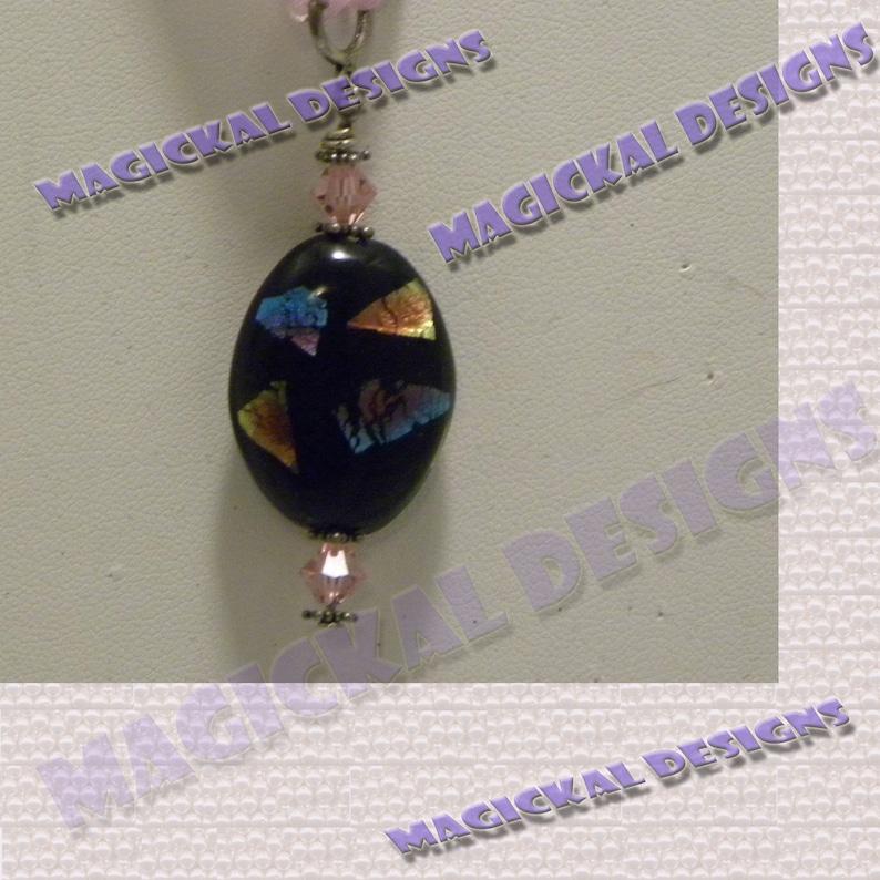 Black iridescent Pendant on multi strand Ribbon necklace image 0