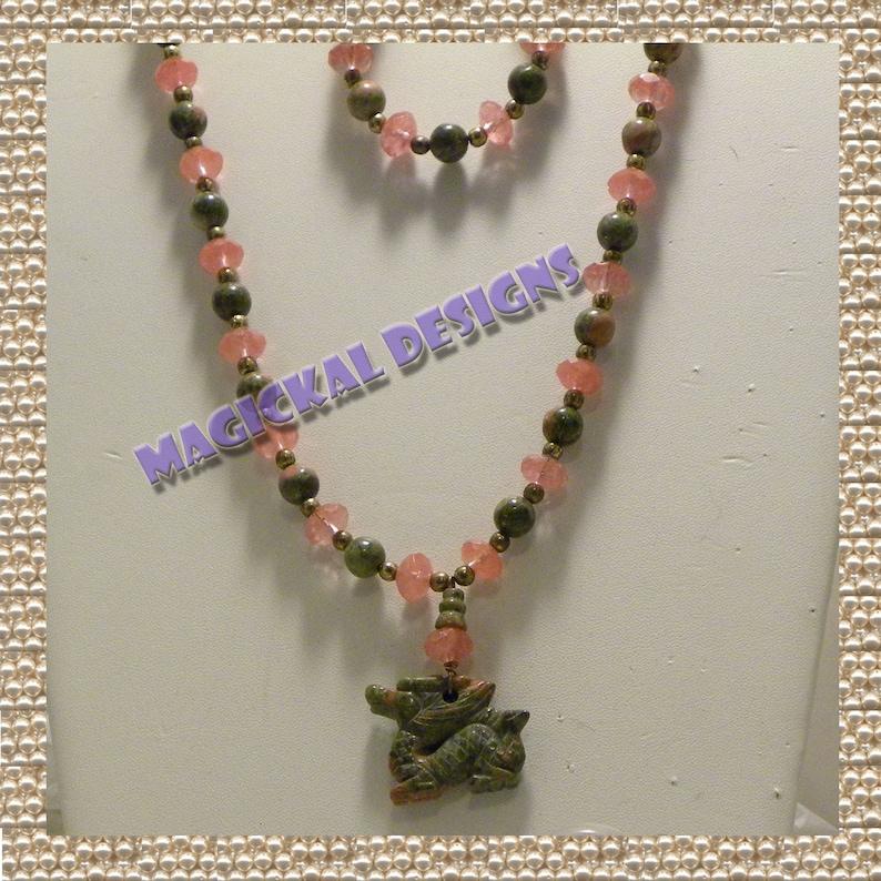 CHERRY MYTH DRAGON Necklace Bracelet Earrings Set dragon image 0
