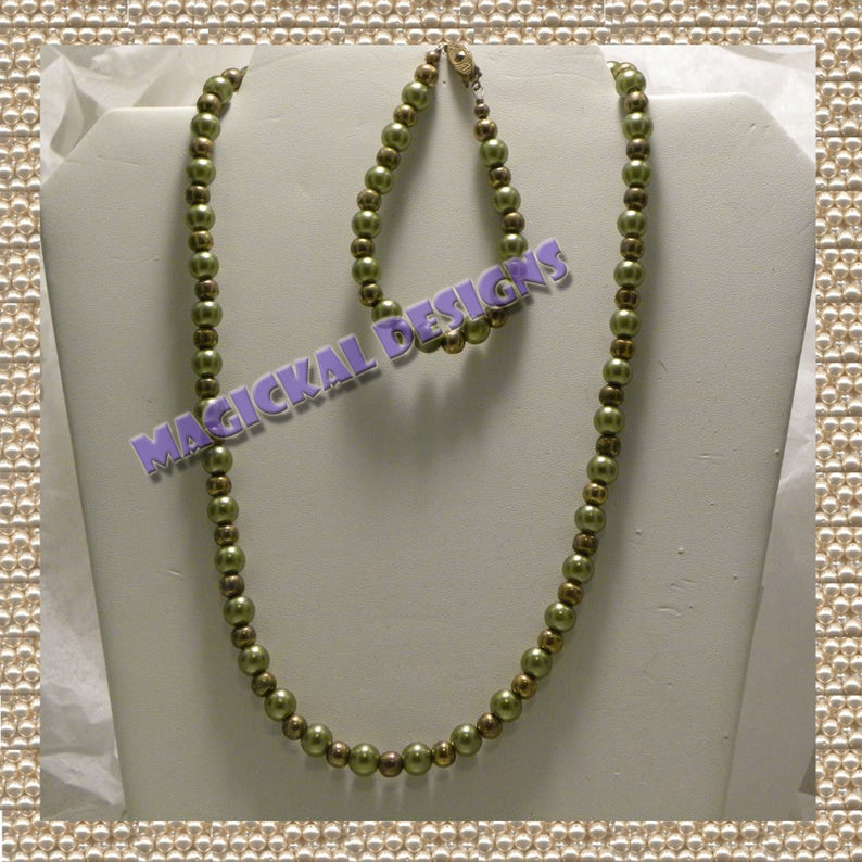 Necklace and Earrings fishhook clasp Bracelet extender glass pearls faux pearls Olive Martini earwires Set adjustable
