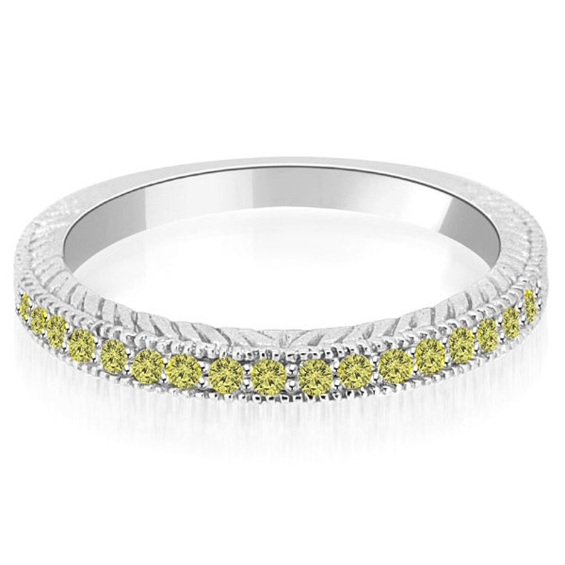 1 4 Carat Fancy Canary Yellow Diamond Wedding Band Ring Solid Etsy