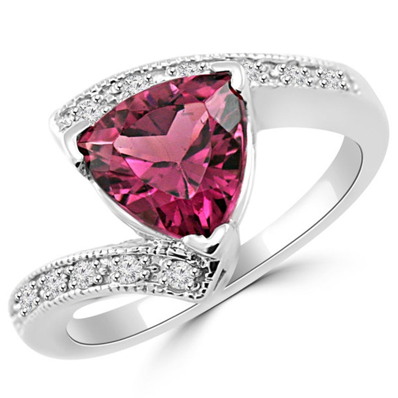 e25110b9894d5 1.24ct Trillion Cut Pink Tourmaline & Diamond Engagement Cocktail Ring 14k  White Yellow Rose Gold