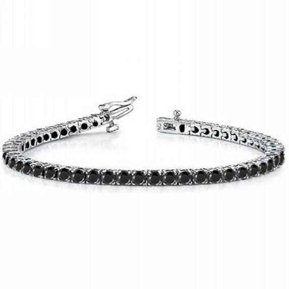 plus de photos 76ecd ed414 2,25 ct diamant noir Eternity Tennis Bracelet 14k or blanc