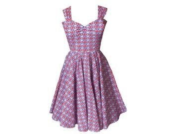 c901b539 Union Jack Dress | 50s Swing Dress | British Flag | Vintage Style |  Eurovision Dress | Plus size Clothing | Midi Dress | Sizes 6 - 26