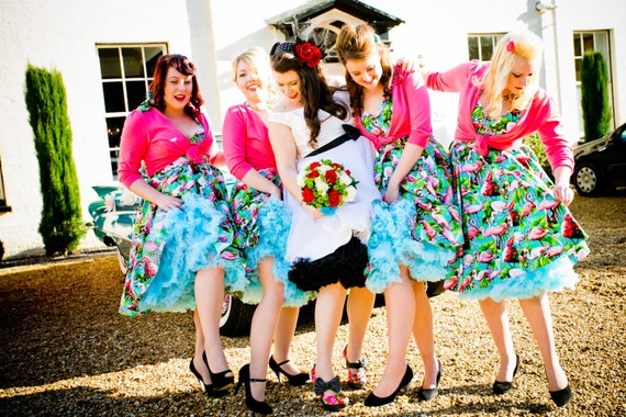 Flamingo Bridesmaid Dress | Rockabilly Wedding | Retro | Kitsch | Pink  Bridesmaids | Plus Size | Custom Colours | UK 6 -26