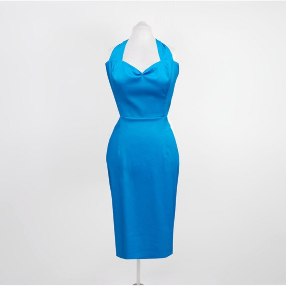 Blue Wiggle Dress | 50s style Pencil Dress | Turquoise Wiggle Dress | 1950s  Rockabilly | Pinup Clothing | Custom Colours & Sizes 6 - 26