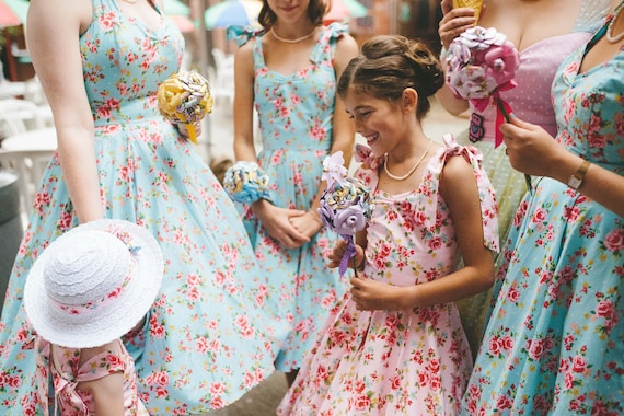Floral Bridesmaid dresses | 50s style Rose Swing Dress | Flower girl dress  | Vintage 1950s Wedding UK 6 - 26 | Plus size | Children sizes