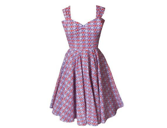 Union Jack Dress | 50s Swing Dress | British Flag | Vintage Style |  Eurovision Dress | Plus size Clothing | Midi Dress | Sizes 6 - 26