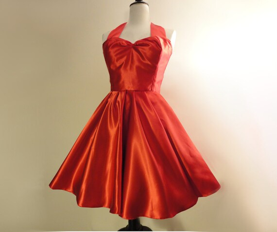 Red Bridesmaid Dress | Red Satin Dress | Red Evening Dress | Red 50s style  dress | Rockabilly bride | Red plus size dress | Red Circle Dress