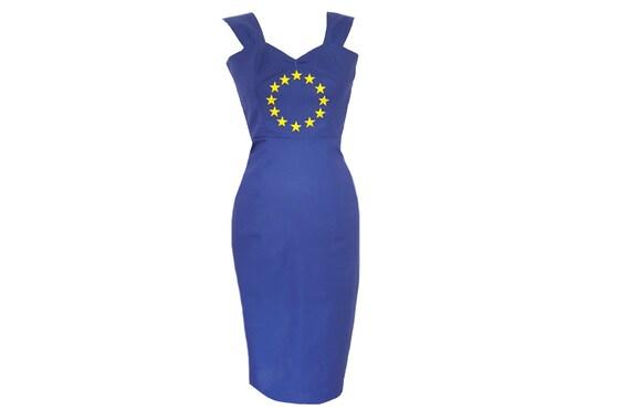EU-blau-Bleistift-Kleid Stern-Kleid Europäische Flagge