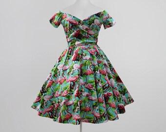 Flamingo Blue off the Shoulder Dress   Bardot Hawaiian Swing Dress   50s inspired Wrap Dress   Pinup Bridesmaid Dress   UK   Custom Sizes