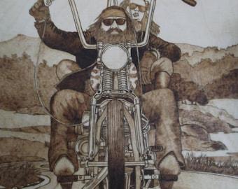 Pyrography art - Motorcycle