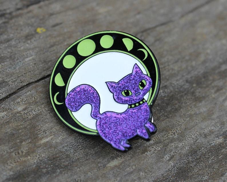 Moon Cat Glow in the Dark Glitter Enamel Pin image 0