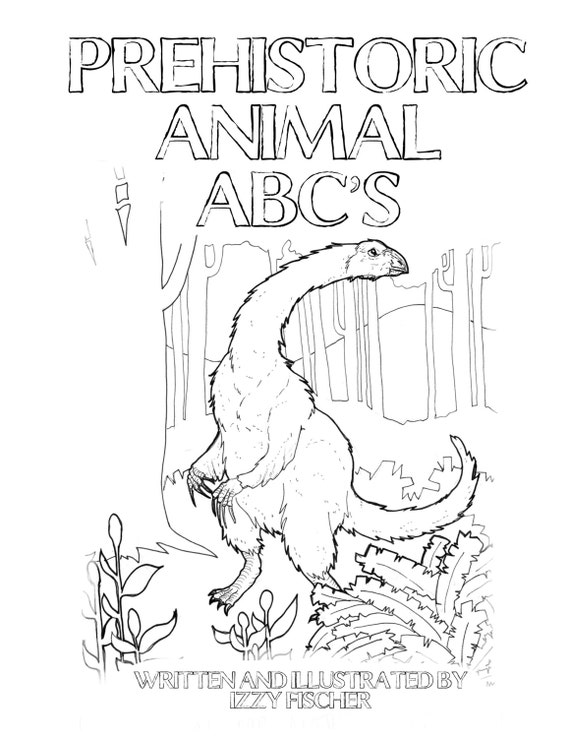 Prehistoric ABC\'s Coloring Book Printable