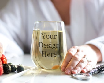 Download Free Wine Glass Mock up -Digital Download-Bride-Instant Download-Stemless Wine Glass-Stock Image-White wine-Insert Design-Spa-Model-Lifestyle PSD Template