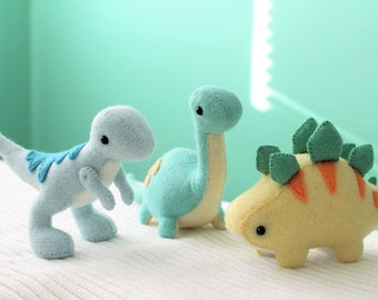 PDF Pattern - Felt Dinosaur Plush Bundle (Velociraptor, Stegosaurus and Brontosaurus)