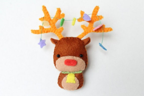 Pdf Pattern Felt Reindeer Christmas Ornament Etsy