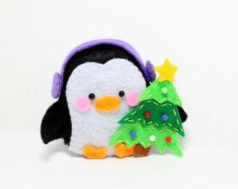 PDF Pattern - Felt Penguin Christmas Ornament