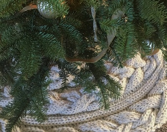 knitted cable christmas tree skirt wrap pattern by live cozy shop - Christmas Tree Skirts Etsy