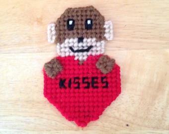 Easter Gift, Monkey Valentines Magnet, Critter Magnet,  Gift, Monkey Gifts, Gift for Kids, Kids Magnets, Kisses, Monkey Magnet