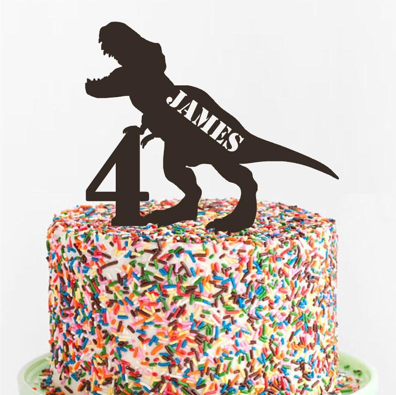 T Rex Birthday Cake Topper Custom Acrylic Laser