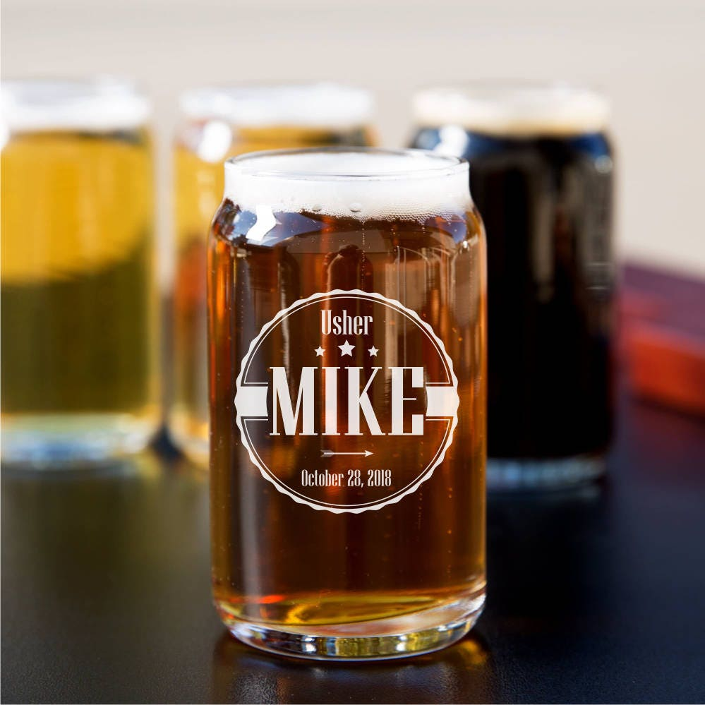 16 Ounce Engraved Can Glass Beer Can Glass Groomsmen Gift