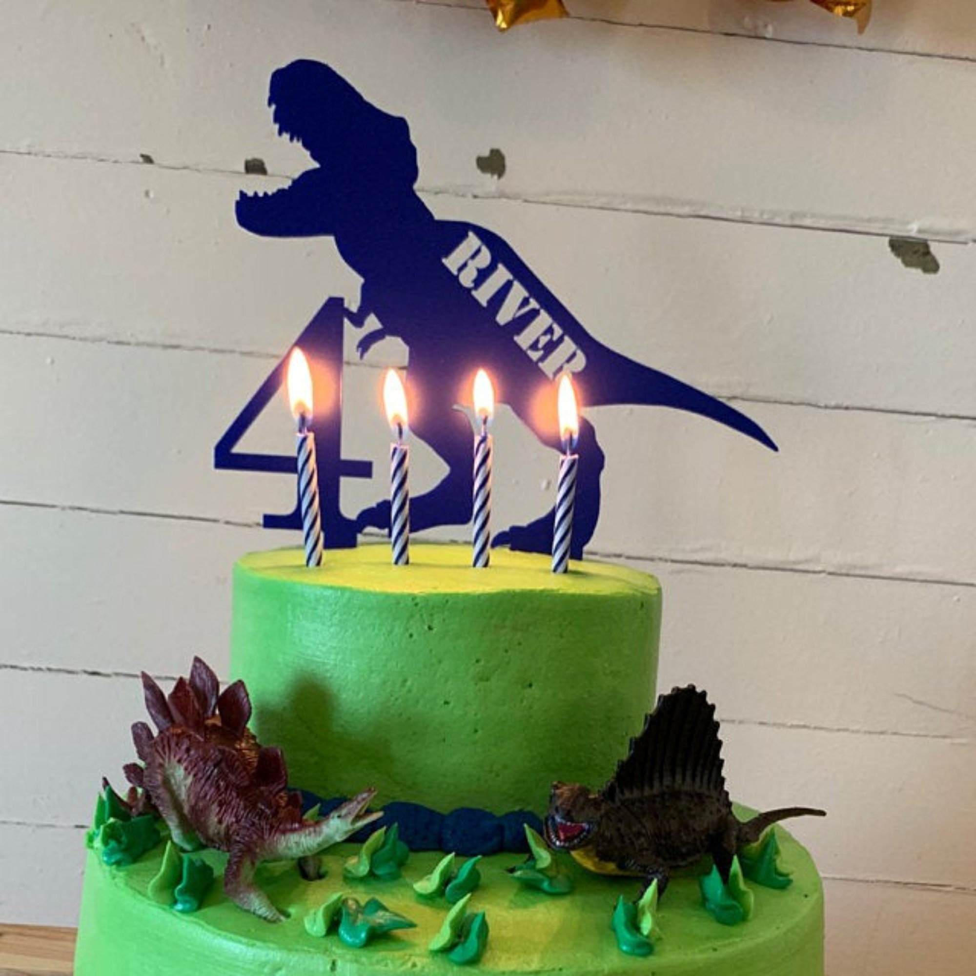 T-Rex Custom Name Cake Topper Kid/'s Birthday Cake Topper Dinosaur Topper Dinosaur Cake Topper Birthday Cake Topper T-Rex Topper