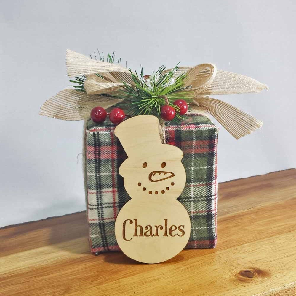 snowman place cards wood place cards christmas table setting winter decor custom made laser engraved free engraving
