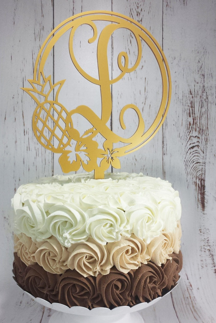 Pineapple Hibiscus Initial Cake Topper- Custom Acrylic Cake Topper ...