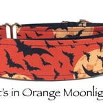 Martingale Dog Collar, Halloween Dog Collar,  Halloween Martingale Dog Collar, Halloween Martingale, Bat Martingale, Orange Bats