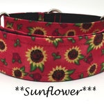 Sunflower Martingale Dog Collar, Sunflower Dog Collar, Red Floral Martingale Dog Collar, Martingale Collar, Floral Martingale, Sunflower