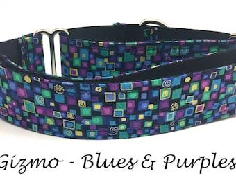 Martingale Dog Collar, Artsy Dog Collar, Gold Buckle Dog Collar, Geometric Martingale, Gold Martingale Dog Collar, Gizmo - Blues and Purples
