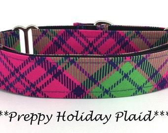Martingale Dog Collar, Preppy Christmas Plaid Dog Collar, Preppy Christmas Plaid Martingale,  Christmas Dog Collar, Preppy Holiday Plaid