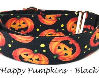 Pumpkin Martingale Dog Collar, Halloween Dog Collar,  Halloween Martingale Dog Collar,  Pumpkin Dog Collar, Smiling Pumpkins - Black