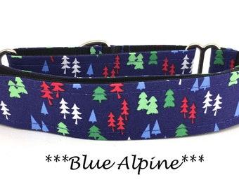 Martingale Dog Collar, Christmas Tree Dog Collar, Alpine Holiday Martingale,  WinterDog Collar, Blue Alpine