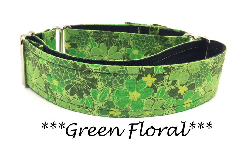Martingale Dog Collar Martingale Buckle Collar Green Floral image 0