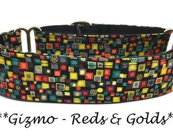 Martingale Dog Collar, Artsy Dog Collar, Gold Buckle Dog Collar, Geometric Martingale, Gold Martingale Dog Collar, Gizmo - Reds and Golds