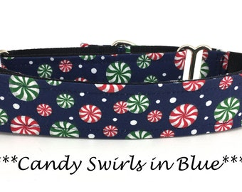 Martingale Dog Collar, Christmas Dog Collar, Peppermint Candies Martingale, Holiday Dog Collar, Holiday Martingale, Candy Swirls in Blue