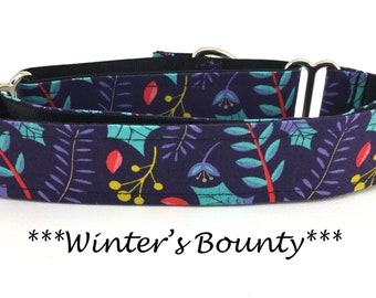 Martingale Dog Collar, Winter Dog Collar, Blueish Purple Winter Martingale,  Christmas Dog Collar, Winter's Bounty