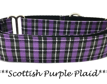 Martingale Dog Collar, Purple and Black Dog Collar, Puple and Black Martingale Dog Collar, Plaid Dog Collar, Scottish Purple Plaid