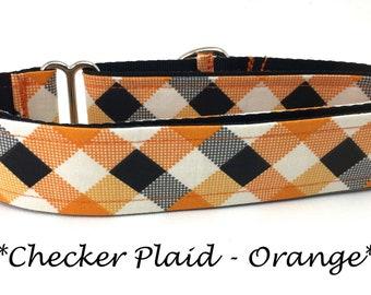 Martingale Dog Collar, Orange and Black Dog Collar, Orange and Black Martingale Dog Collar, Plaid Dog Collar, Checker Plaid - Orange