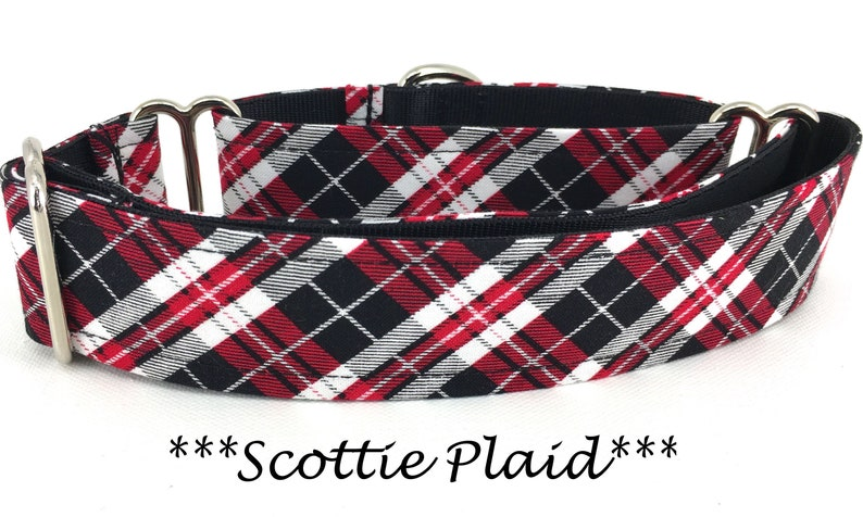 Martingale Dog Collar Red and Black Plaid Dog Collar Red image 0