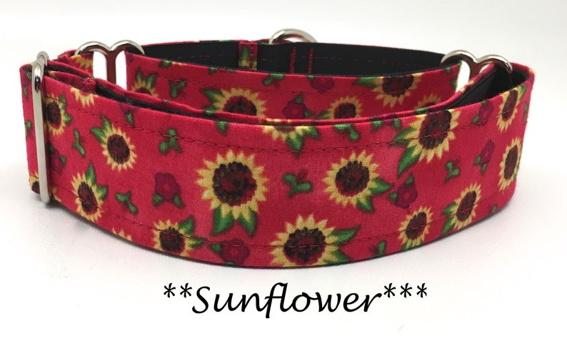 Sunflower Martingale Dog Collar Sunflower Dog Collar Red image 0