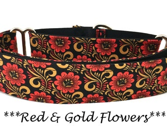 Martingale Dog Collar, Gold and Red Floral Dog Collar,  Fall Red Floral Martingale Dog Collar, Autumn Dog Collar, Red & Gold Flowers