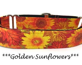 Martingale Dog Collar, Sunflower Dog Collar,  Sunflower Martingale Dog Collar, Autumn Dog Collar, Fall Dog Collar, Golden Sunflowers