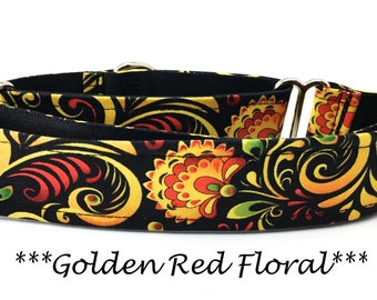 Martingale Dog Collar, Yellow and Red Floral Dog Collar,  Fall Red Floral Martingale Dog Collar, Autumn Dog Collar, Golden Red Floral