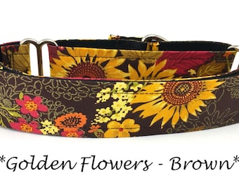 Martingale Dog Collar, Sunflower Dog Collar,  Fall Sunflower Martingale Dog Collar, Autumn Dog Collar, Golden Flowers - Brown