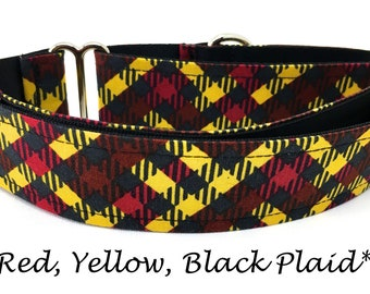 Martingale Dog Collar, Yellow and Red Dog Collar, Red and Black Martingale Dog Collar, Plaid Dog Collar, Red, Yellow, Black Plaid